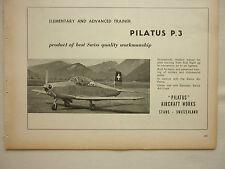 2/1959 PUB PILATUS P.3 ADVANCED TRAINER SWISS ORIGINAL AIRCRAFT FLUGZEUG AD