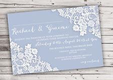 PERSONALISED RUSTIC DUSKY BLUE LACE WEDDING INVITATIONS PACKS OF 10