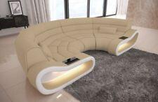 Stoff Bigsofa Design moderne Couch CONCEPT U Form mit LED Beleuchtung in beige
