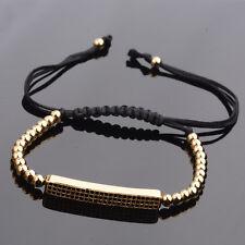 Newest Style 18K Charms Summer Bars Beads Women Mens Leather Macrame Bracelet