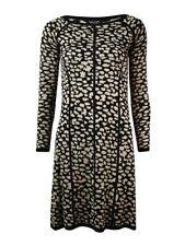 Spense Women's Striped Cheetah Knit Sweater Dress