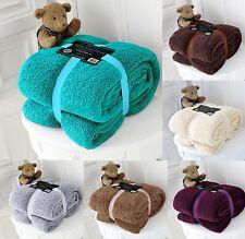 Luxury Double or King Fleece Blanket Teddy Bear Throw for Sofa Bed Soft Warm