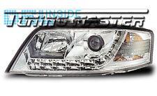 Fari Anteriori Dayline DRL Luci Diurne Audi A6 C5 01->04 Cromati Omologati CE87