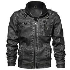 Men's Tactical Stand collar Leather Jacket Motorcycle Bomber Biker Coat Outwear