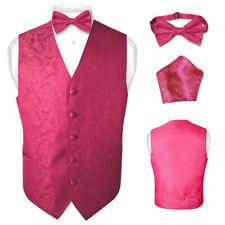 Men's Paisley Design Dress Vest & Bow Tie HOT PINK FUCHSIA Color BOWTie Set