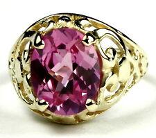 • R004-14, Created Pink Sapphire, 14k Yellow Gold Ladies Ring -Handmade