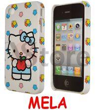 Cover Custodia Per iPhone 4/4S/4G Hello Kitty Mela Rossa + Pellicola Display