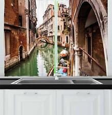 "Venice Kitchen Curtains 2 Panel Set Window Drapes 55"" X 39"" Ambesonne"