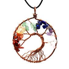 Natural 7 Chakra Gem Reiki Balance Tree Of Life Pendant Healing Energy Necklace