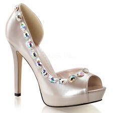 Fabulicious LUMINA-38 Shoes Champagne Patent Rhinestones Open Toe High Heels