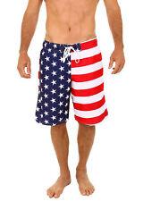 Uzzi Men's Patriotic USA American Flag Swim Trunks