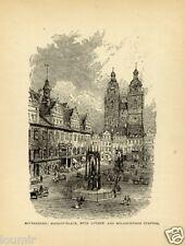1884= GERMANIA = WITTENBERG = Stampa Antica = Old Engraving
