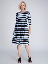 b3e3bc8ef3023 Lane Bryant Womens 14 16 22 24 Striped Double Knit Fit Flare Dress Jigsaw  1x 3x