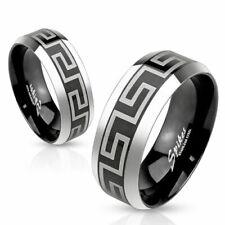 316L Stainless Steel Black Greek Key Center Stripe Wedding Band Ring Size 5-13