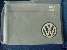 VW OWNERS MANUAL 1987 jetta 87 new