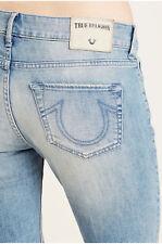 True Religion Women's Cora Straight Crop Jeans w/ Rips in Blue Dream Destroyed