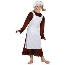 Bambini ragazza VITTORIANA Marrone Costume Ragazze Vestito Libro Settimana Età 3-10