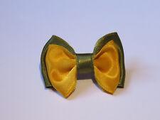 Barrette élastique chouchou pince Broche petit noeud papillon cheveux kaki jaune