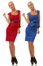 4234 Damen Minikleid Party Kleid  m. Gürtel Schößchen Bodycon Knielang Dress
