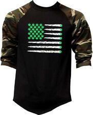 Men's Weed Flag Camo Baseball Raglan T Shirt Kush Blunt 420 Cali Usa Tattoo Ca