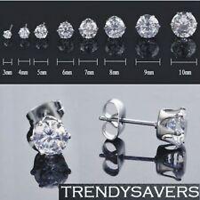 Women/Girls, Men Crystal Diamante Stainless Steel Ear Stud Earrings 3mm-10mm