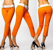 SeXy Miss Damen 7/8 Capri Sommer Hüft Hose LoW CuT NadelStreifen orange Gürtel