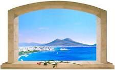 Sticker Trompe L'oeil Adesivo Finestra con Rosa sul Golfo di Napoli con Vesuvio