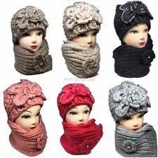 New Women Girls Knitted Thick Woolen Beanie Hat and Scarf Set Flower Warm Winter