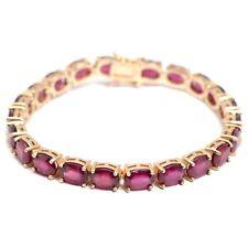 14K Rose Gold Plating Natural Ruby Cut Gemstone 925 Solid Silver Tennis Bracelet