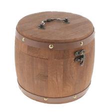 Big Wood Barrel Tea Can Lidded Canister Sugar Bean Coffee Flour Storage Jar