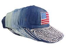 Basecap Damen Snapbackcap Strass Flagge USA Mütze Jeans Denim Blau Glitzer Kappe