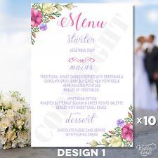 10 x Wedding Menu Party Menu Table Card ANY style, text, colour, size A6 A5 A4