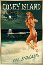 Coney Island New York Travel Poster Marilyn Monroe Beach Pin Up Art Print 175