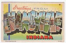 Evansville Indiana Large Letter Linen 1943 postcard
