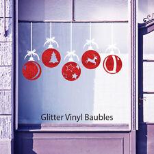 Christmas Xmas Glitter Balls Baubles Shop Window Wall Vinyl Stickers Decals B35
