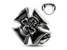 Bague Biker en acier 316L chevalière stainless steel lucky13 Biker skull ring