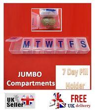 Pill box Holder grandi Tablet Organizer CONTENITORE DISPENSER Storage vitamina 7 giorni