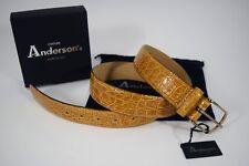 NWT ANDERSON'S cintura elegante ARTIGIANALE uomo COCCODRILLO miele made in Italy