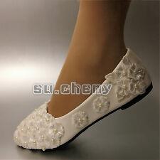 Su.cheny Plat / 4cm/8cm Talons Blanc Plat Lacets Perles Fleur Chaussures Mariage