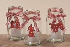Windlicht m. Hänger, Rentier,Engel ,Flügel,Teelicht,Glas, Vase,Weihnachten