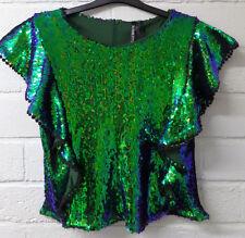 Mujeres Damas Nuevo Corto Jazzy Brillante Lentejuelas Completo Lado Volante Top/blusa Reino Unido 8-16