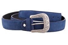 Mens Western Belts Antique silver belt buckles Cowboy Cowgirl Blue suede leather