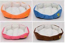 "Pets Dog Bed Blue Pink Brown Orange Embroidered Paw-Print Bed Bedding 15""  OB"