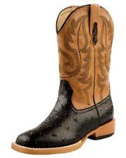Roper Western Boots Mens Faux Ostrich Black Brown 09-020-1900-0050 BL