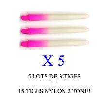 Lot de 5 jeux = 15 tiges flechettes darts shaft NYLON 2TONE  (medium: 4,7cm)