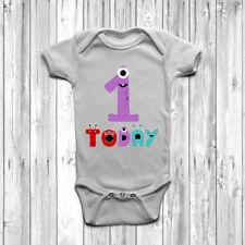 MONSTER 1 oggi BABY GROW Tuta Gilet 0-18 mesi 1st compleanno di un bel