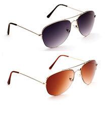 Para Hombre estimadas De Metal De Diseño Retro Aviator Oro Plata Gafas De Sol Chrome + Estuche