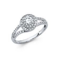 1 CT Round Engagement Bridal Ring Band Lab Diamond 14k White Gold Split Halo