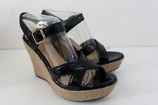 Women's Ugg Jackilyn Black Patent Leather Wedge Sandal Heel Shoe NIB 8.5 M 10 M