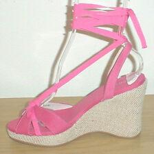 New ANKLE TIE ESPADRILLES Unisa PLATFORM WEDGE Ladies Sandals PINK Shoes